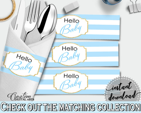 Baby shower printable NAPKIN RINGS with blue and white stripes, digital file jpg pdf, instant download - bs002