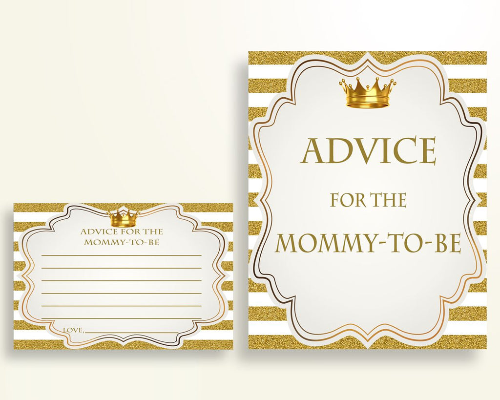 Advice Cards Baby Shower Advice Cards Royal Baby Shower Advice Cards Gold White Baby Shower Gold Advice Cards paper supplies prints Y9MQF - Digital Product