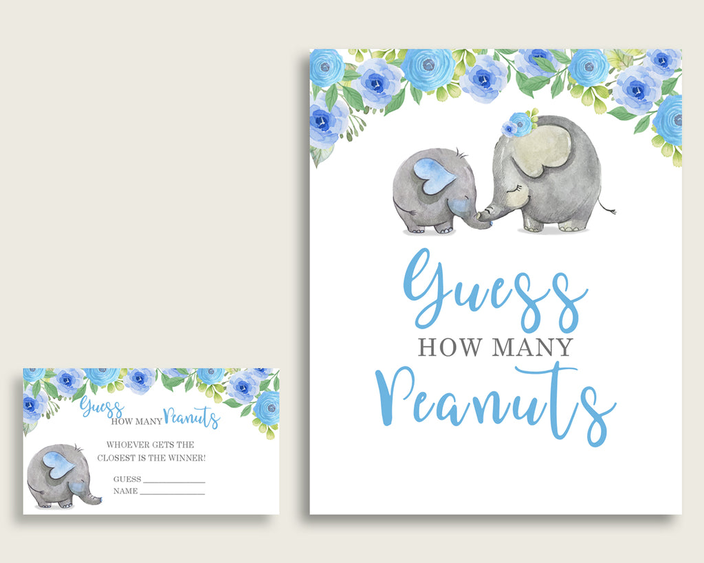 Blue Gray Candy Guessing Game, Elephant Blue Baby Shower Boy Sign And Cards, Guess How Many Candies, Candy Jar Game, Jelly Beans ebl01