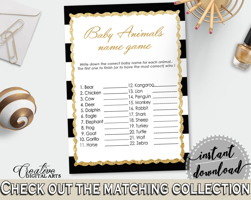 NAME The BABY ANIMALS baby shower game with black white stripes color theme printable, glitter gold, digit Jpg Pdf, instant download - bs001