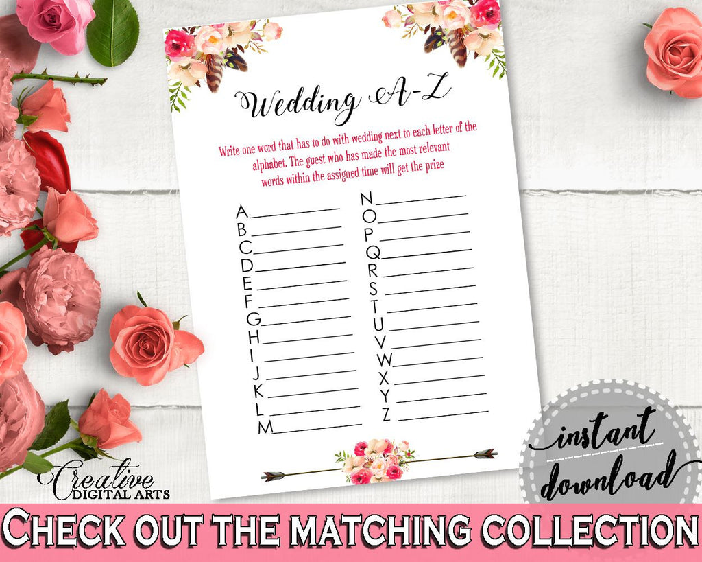 Bohemian Flowers Bridal Shower Wedding A-Z Game in Pink And Red, abc game, tribal bohemian, bridal shower idea, shower celebration - 06D7T - Digital Product