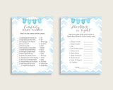 Chevron Baby Shower Games Printable Pack, Blue White Baby Shower Games Package Boy, Chevron Games Bundle Set, Instant Download, cbl01
