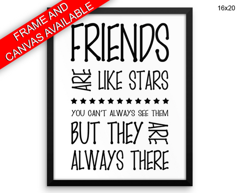Friends Print, Beautiful Wall Art with Frame and Canvas options available Home Decor