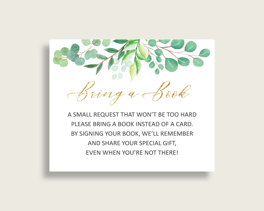 Greenery Baby Shower Bring A Book Insert Printable, Gender Neutral Green Gold Book Request, Greenery Books For Baby, Book Instead Of Y8X33