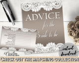 Brown And Silver Traditional Lace Bridal Shower Theme: Advice For The Bride To Be - advice for bride, rustic bridal, party ideas - Z2DRE - Digital Product