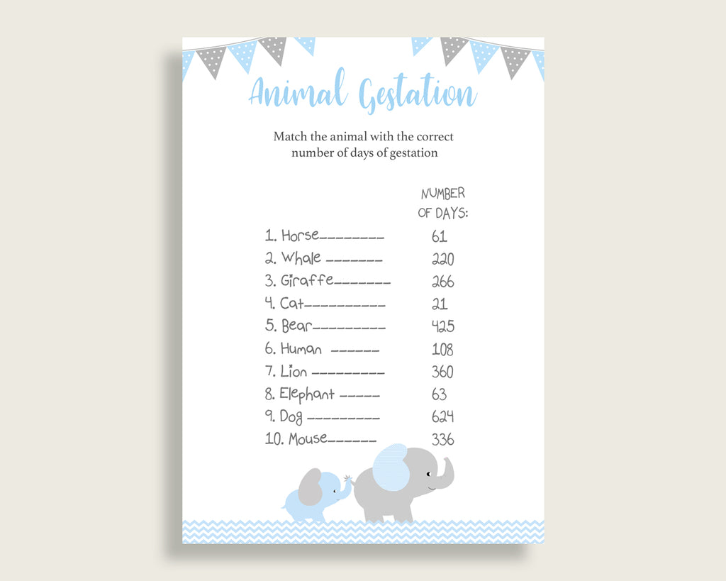 Elephant Animal Pregnancy Gestation Game, Blue Grey Baby Shower Boy Printable Activities, Instant Download, Most Popular Chevron Theme ebl02