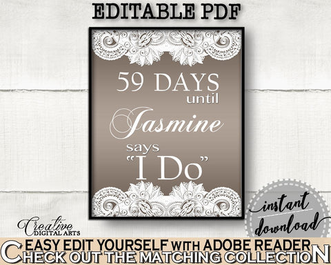 Brown And Silver Traditional Lace Bridal Shower Theme: Days Until I Do - countdown sign, bridal filigree, party organization, prints - Z2DRE - Digital Product