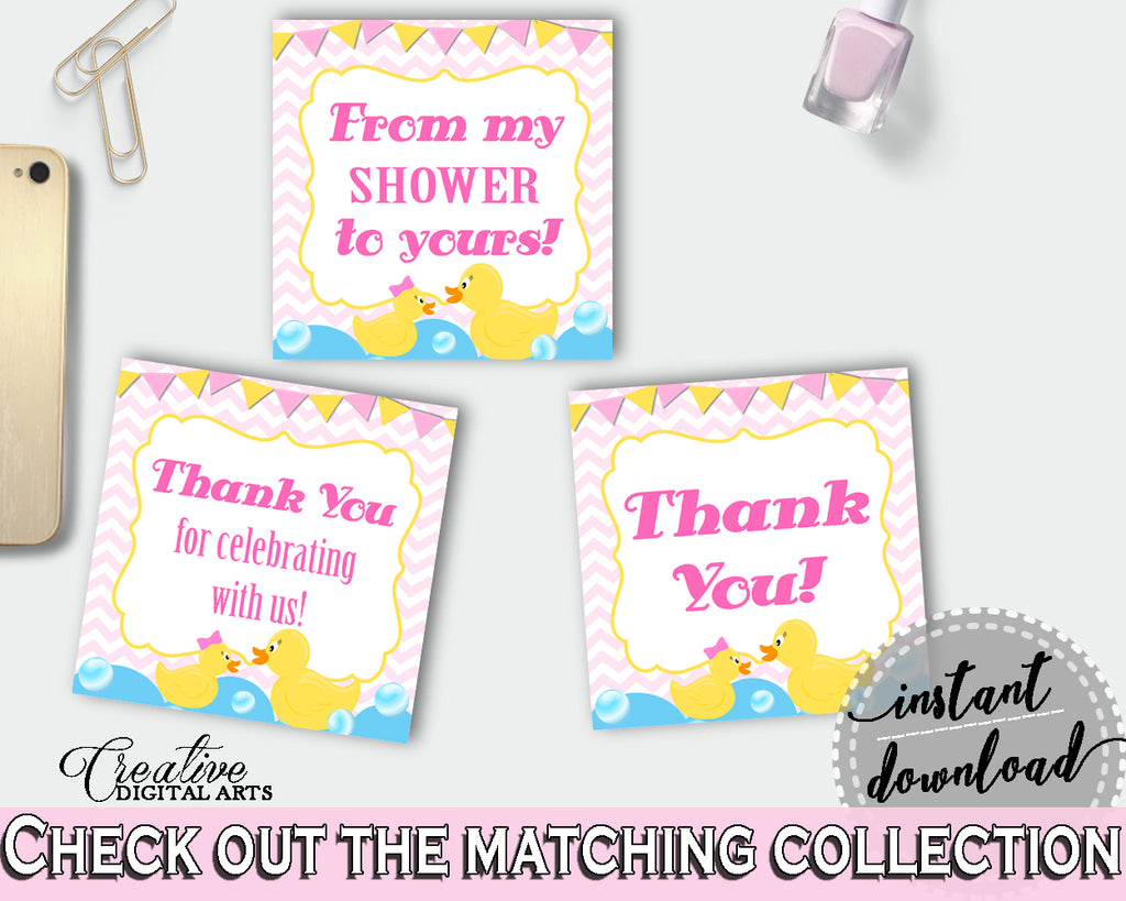 Thank You Tags Baby Shower Thank You Tags Rubber Duck Baby Shower Thank You Tags Baby Shower Rubber Duck Thank You Tags Purple Pink rd001