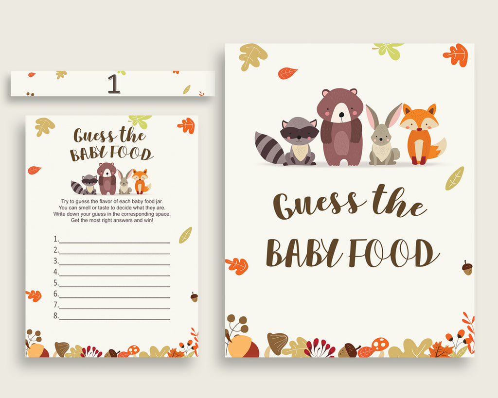 Brown Beige Woodland Guess The Baby Food Game Printable, Gender Neutral Baby Shower Food Guessing Game Activity, Instant Download, w0001