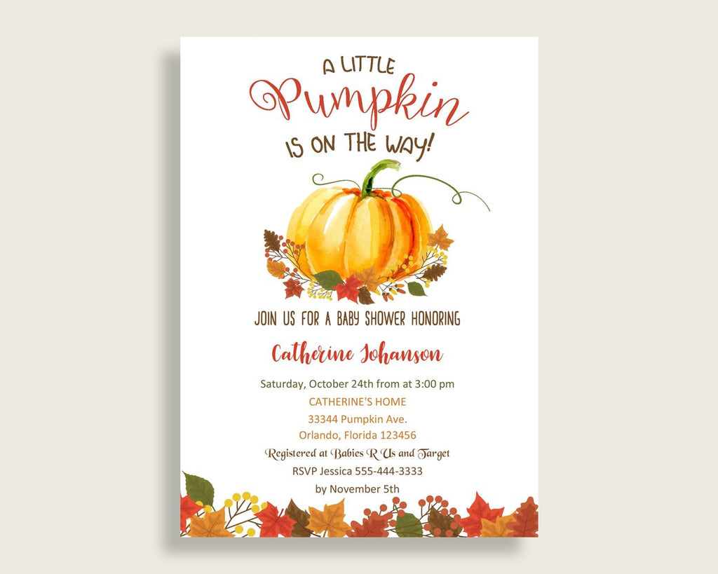 Invitation Baby Shower Invitation Fall Baby Shower Invitation Baby Shower Pumpkin Invitation Orange Brown printables party plan shower BPK3D - Digital Product