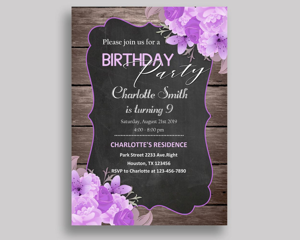 Rustic Flowers Birthday Invitation Rustic Flowers Birthday Party Invitation Rustic Flowers Birthday Party Rustic Flowers Invitation AKNEV - Digital Product