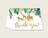 Gold Green Thank You Cards Printable, Jungle Baby Shower Thank You Notes, Gender Neutral Shower Thank You Folded, Instant Download, EJRED