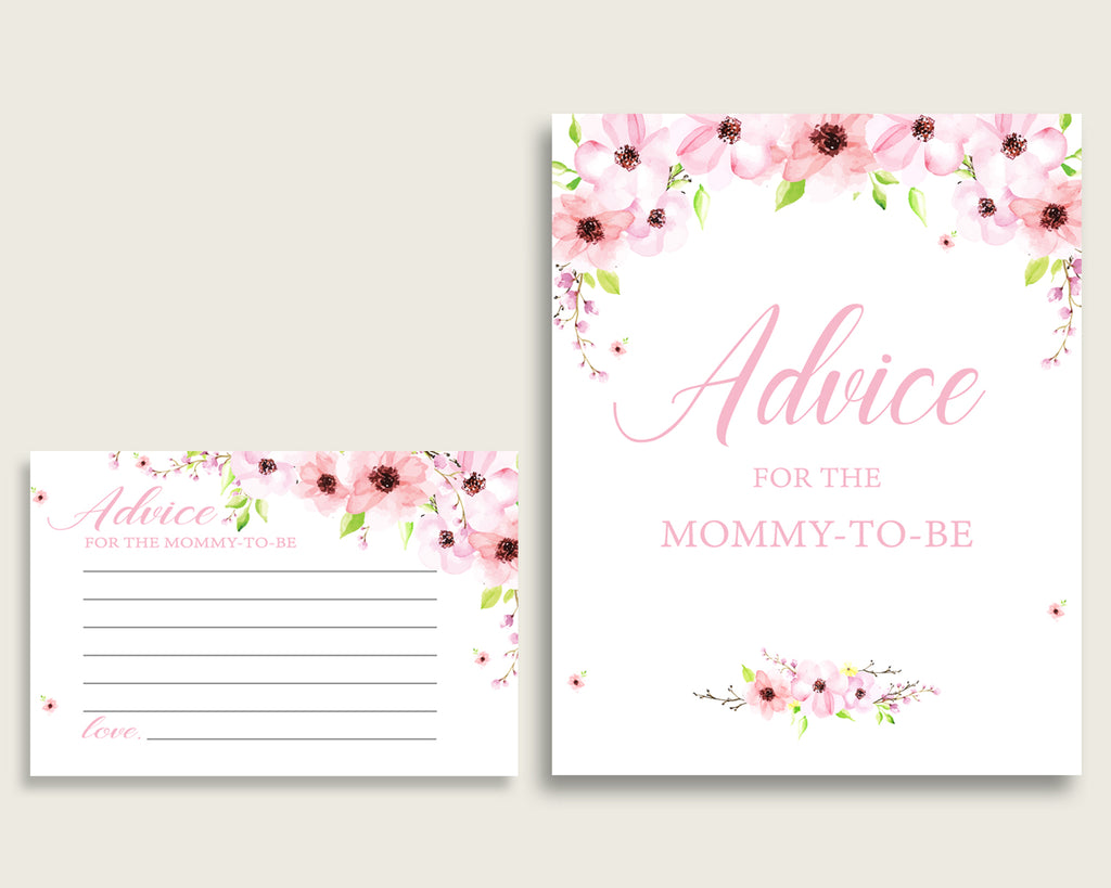 Flower Blush Advice For Mommy To Be Cards & Sign, Printable Baby Shower Pink Green Advice For New Parents, Instant Download, VH1KL