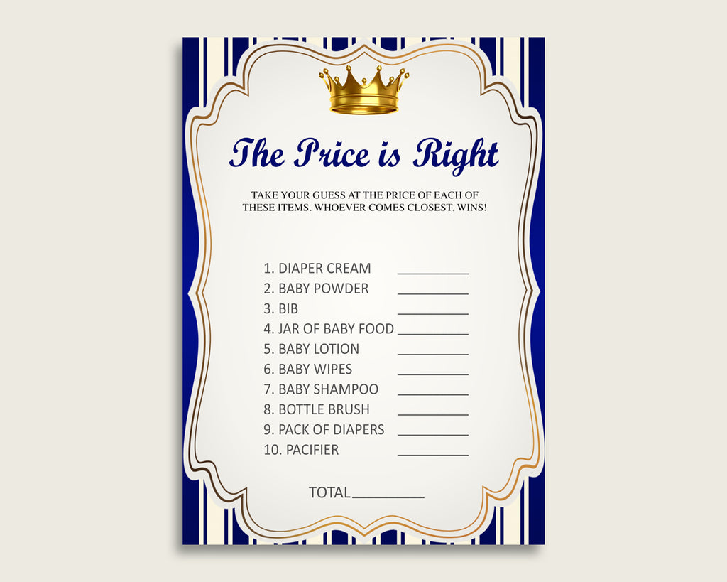 Blue Gold The Price Is Right Game, Royal Prince Baby Shower Boy Activity, Guess The Price Game Printable, Instant Download, King Crown rp001