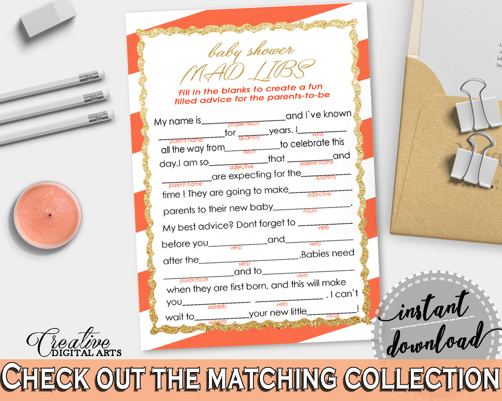 image regarding Baby Shower Mad Libs Printable referred to as Outrageous LIBS child shower sport with glitter gold and orange stripes topic printable, gender impartial, electronic Jpg Pdf, immediate obtain - bs003