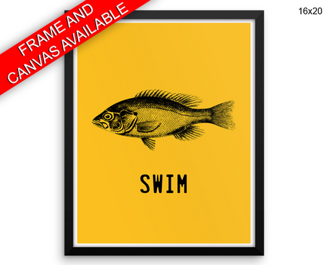 Swim Fish Print, Beautiful Wall Art with Frame and Canvas options available Office Decor