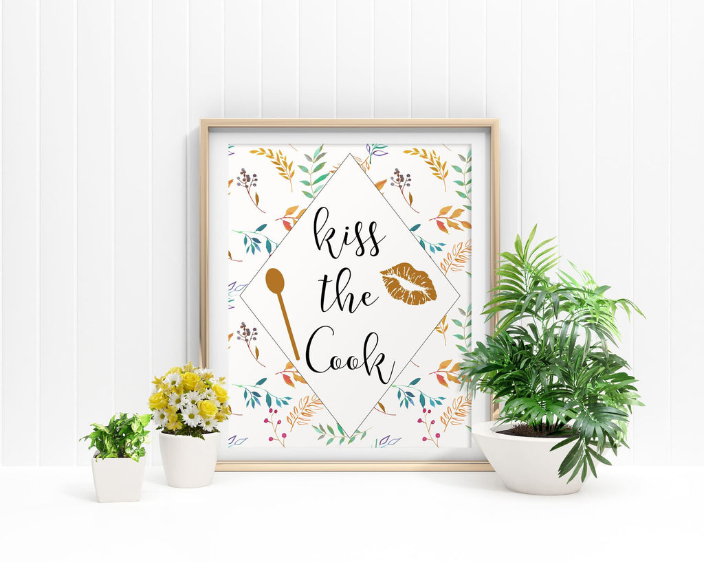 Wall Art Kiss The Cook Digital Print Kiss The Cook Poster Art Kiss The Cook Wall Art Print Kiss The Cook Kitchen Art Kiss The Cook Kitchen - Digital Download