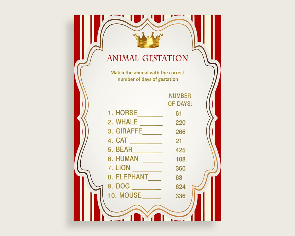 Prince Animal Pregnancy Gestation Game, Red Gold Baby Shower Boy Printable Activities, Instant Download, Cute Theme Crown 92EDX