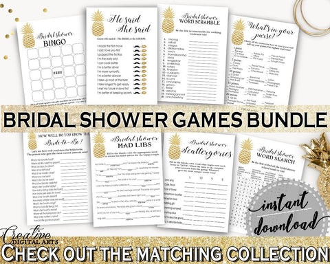 Games Bundle Bridal Shower Games Bundle Pineapple Bridal Shower Games Bundle Bridal Shower Pineapple Games Bundle Gold White prints 86GZU - Digital Product