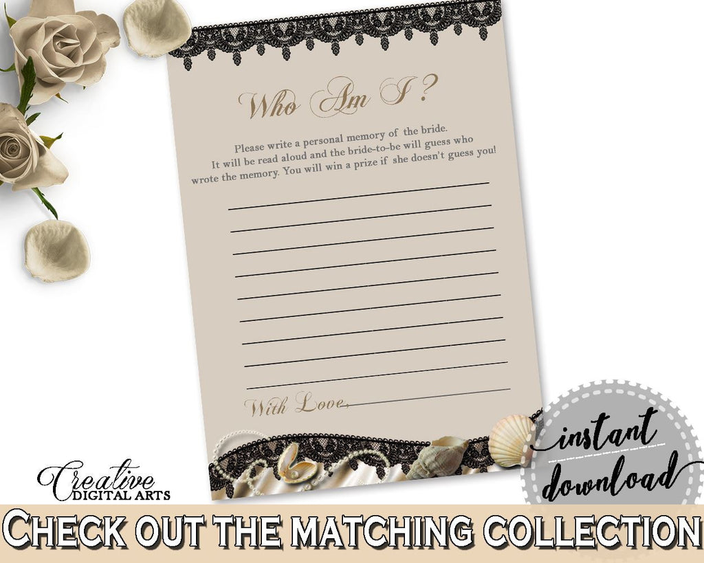 Brown And Beige Seashells And Pearls Bridal Shower Theme: Who Am I Game - guessing trivia, satin sheets bridal, party planning - 65924 - Digital Product