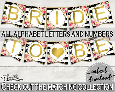 Flower Bouquet Black Stripes Bridal Shower Banner in Black And Gold, banner alphabet, black strips, party planning, party stuff - QMK20 - Digital Product
