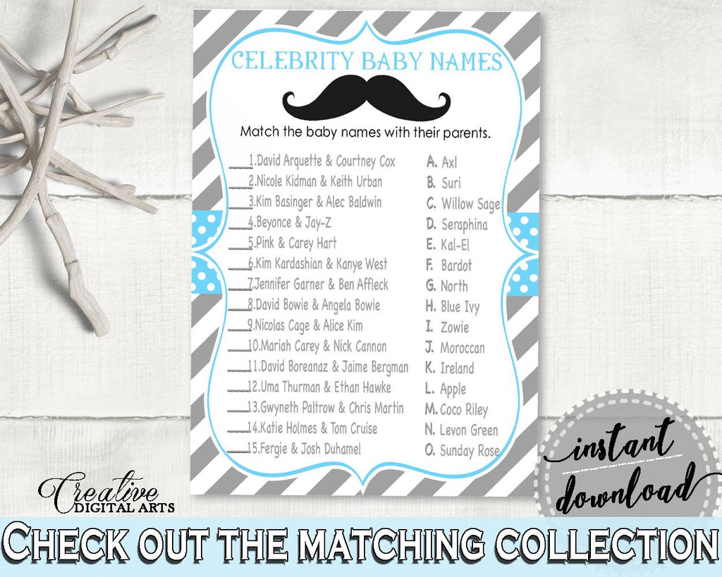 Celebrity Baby Names, Baby Shower Celebrity Baby Names, Mustache Baby Shower Celebrity Baby Names, Baby Shower Mustache Celebrity Baby 9P2QW - Digital Product