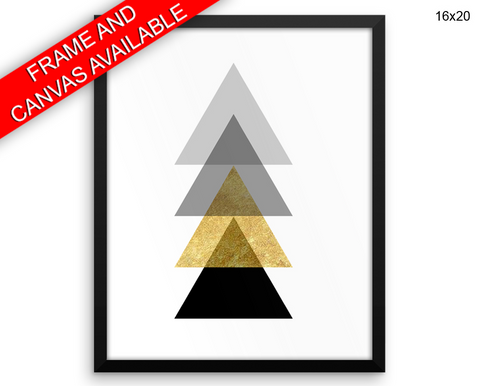 Geometric Triangle Print, Beautiful Wall Art with Frame and Canvas options available Office Decor