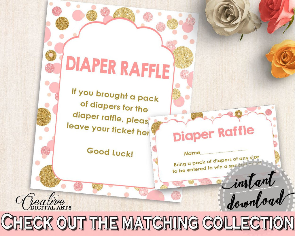 Diaper Raffle, Baby Shower Diaper Raffle, Dots Baby Shower Diaper Raffle, Baby Shower Dots Diaper Raffle Pink Gold printable files - RUK83 - Digital Product