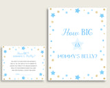 Blue Gold How Big Is Mommy's Belly Game, Stars Baby Shower Boy, Guess Mommys Belly Size, Mommy Tummy Game, Instant Download, bsr01