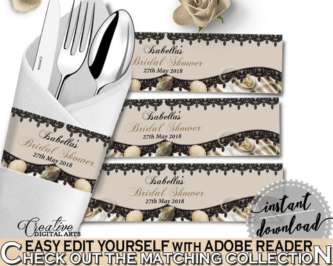 Napkin Ring Editable in Seashells And Pearls Bridal Shower Brown And Beige Theme, tableware, seashells bridal, bridal shower idea - 65924 - Digital Product