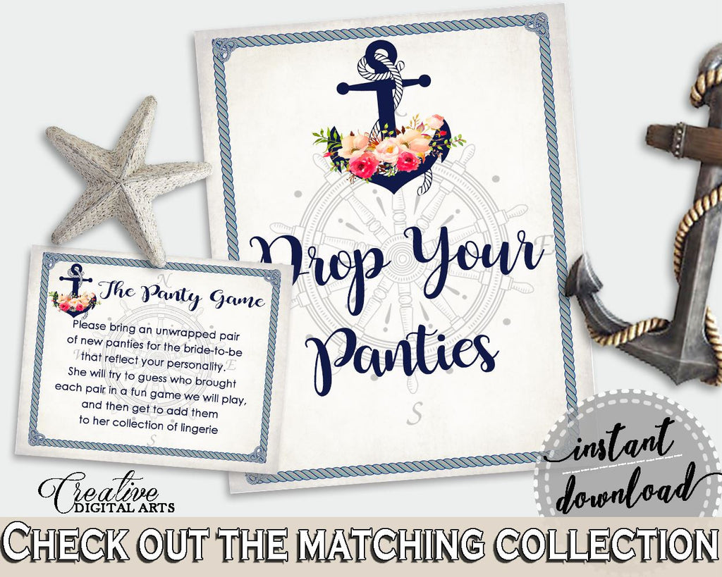 navy blue nautical anchor flowers bridal shower theme drop your panties bridal panty game