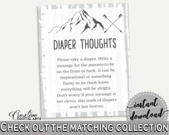 Diaper Thoughts Baby Shower Diaper Thoughts Adventure Mountain Baby Shower Diaper Thoughts Gray White Baby Shower Adventure Mountain S67CJ - Digital Product