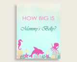 Pink Green How Big Is Mommy's Belly Game, Under The Sea Baby Shower Girl, Guess Mommys Belly Size, Mommy Tummy Game, Instant Download, uts01