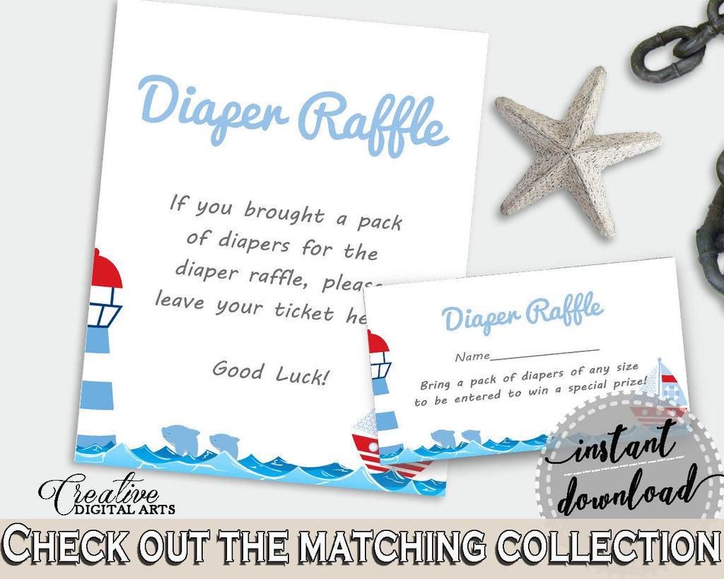 Diaper Raffle Baby Shower Diaper Raffle Nautical Baby Shower Diaper Raffle Baby Shower Nautical Diaper Raffle Blue Red party theme DHTQT - Digital Product