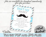 Blue Gray Dont Say Baby, Baby Shower Dont Say Baby, Mustache Baby Shower Dont Say Baby, Baby Shower Mustache Dont Say Baby prints, pdf 9P2QW - Digital Product