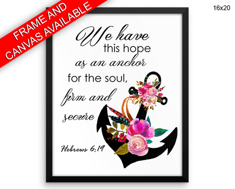 Hebrews Print, Beautiful Wall Art with Frame and Canvas options available Faith Decor