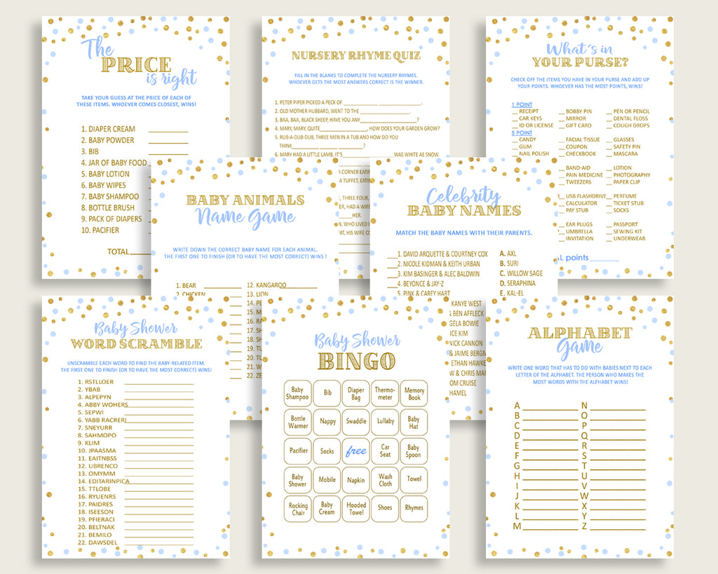 Games Baby Shower Games Confetti Baby Shower Games Blue Gold Baby Shower Confetti Games prints instant download printable pdf jpg cb001
