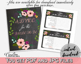 Chalkboard Flowers Bridal Shower Advice For The Bride To Be in Black And Pink, advice cards, chalkboard floral, party organization - RBZRX - Digital Product