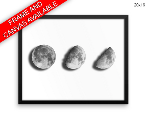 Moon Print, Beautiful Wall Art with Frame and Canvas options available Bedroom Decor