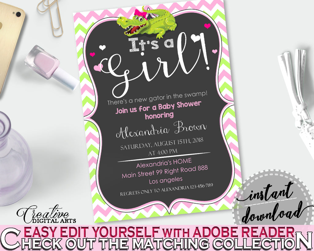 Baby Shower INVITATION editable with green alligator and pink color theme, instant download - ap001