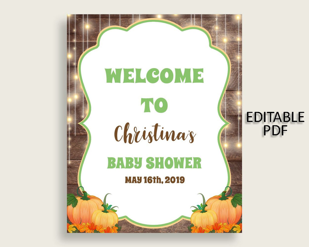 Welcome Sign Baby Shower Welcome Sign Autumn Baby Shower Welcome Sign Baby Shower Autumn Welcome Sign Brown Orange printables pdf jpg 0QDR3 - Digital Product