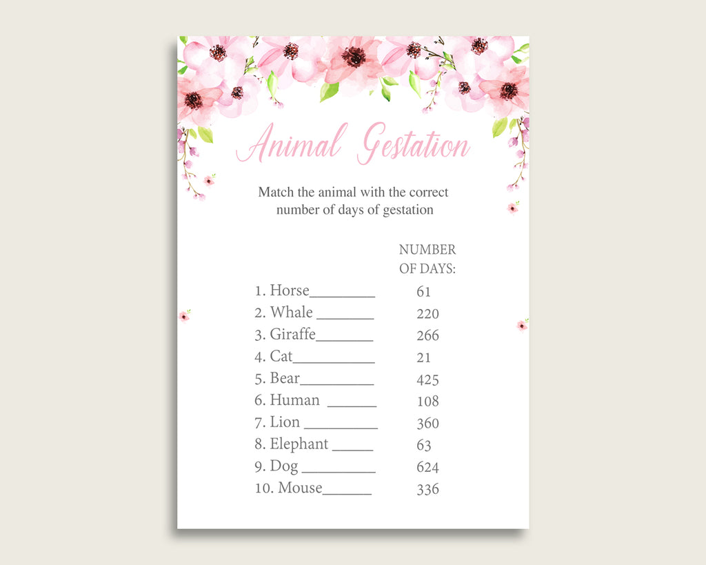 Flower Blush Animal Pregnancy Gestation Game, Pink Green Baby Shower Girl Printable Activities, Instant Download, Cute Flowers VH1KL