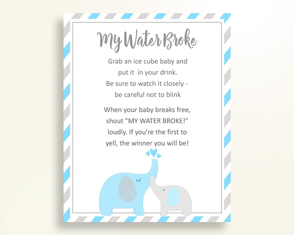 My Water Broke Baby Shower My Water Broke Elephant Baby Shower My Water Broke Blue Gray Baby Shower Elephant My Water Broke prints C0U64 - Digital Product