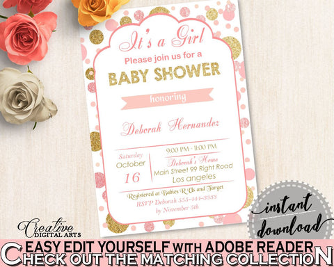 Editable Invitation, Baby Shower Editable Invitation, Dots Baby Shower Editable Invitation, Baby Shower Dots Editable Invitation Pink RUK83 - Digital Product
