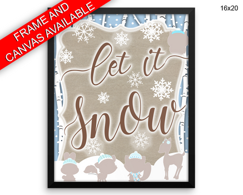 Let It Snow Print, Beautiful Wall Art with Frame and Canvas options available Winter Decor
