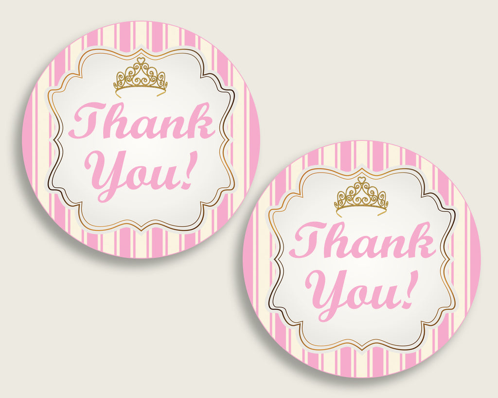Royal Princess Baby Shower Round Thank You Tags 2 inch Printable, Pink Gold Favor Gift Tags, Girl Shower Hang Tags Labels, Digital rp002