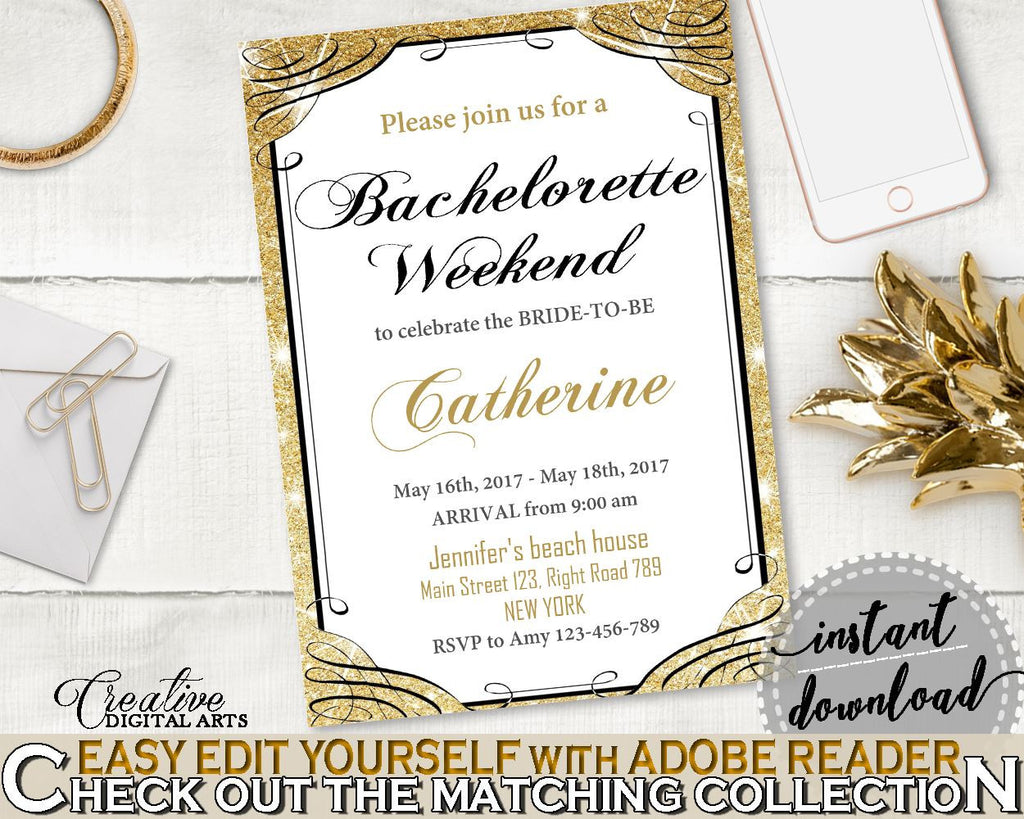 Bachelorette Weekend Invitation Editable in Glittering Gold Bridal Shower Gold And Yellow Theme, answer, paper supplies, prints - JTD7P - Digital Product