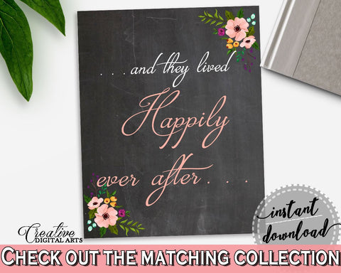 Black And Pink Chalkboard Flowers Bridal Shower Theme: Happily Ever After Sign - happy sign, floral shower, party supplies, prints - RBZRX - Digital Product