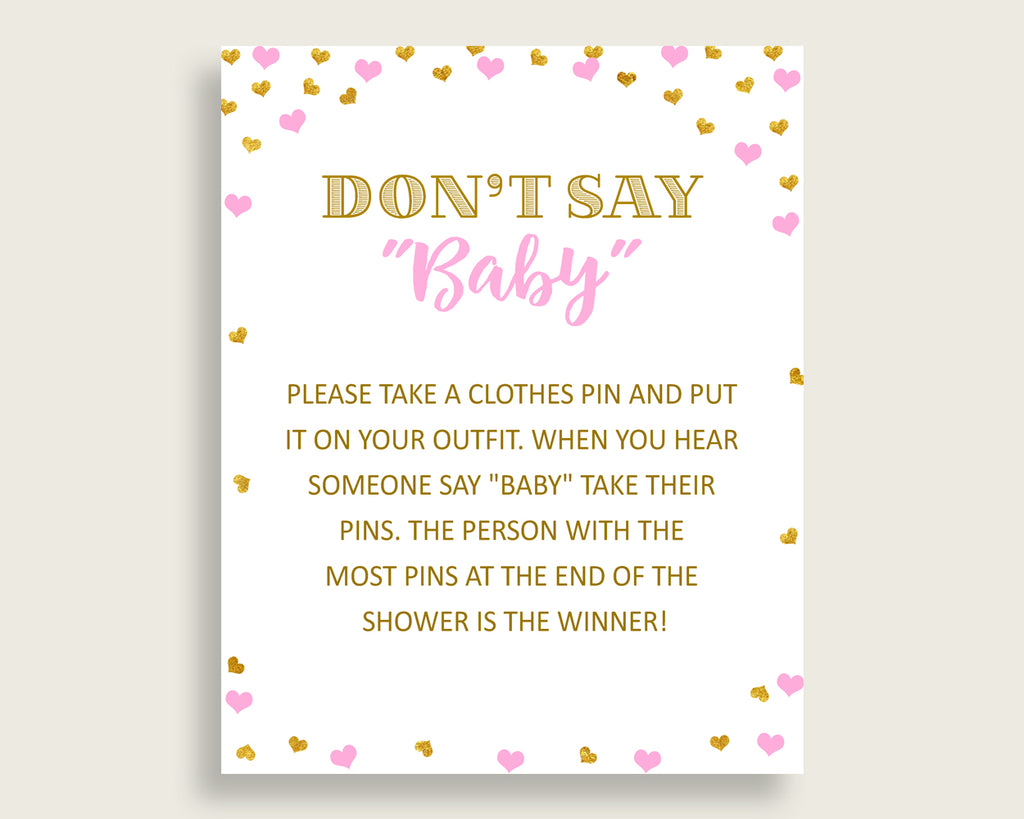 Dont Say Baby Baby Shower Dont Say Baby Hearts Baby Shower Dont Say Baby Baby Shower Hearts Dont Say Baby Pink Gold digital print bsh01