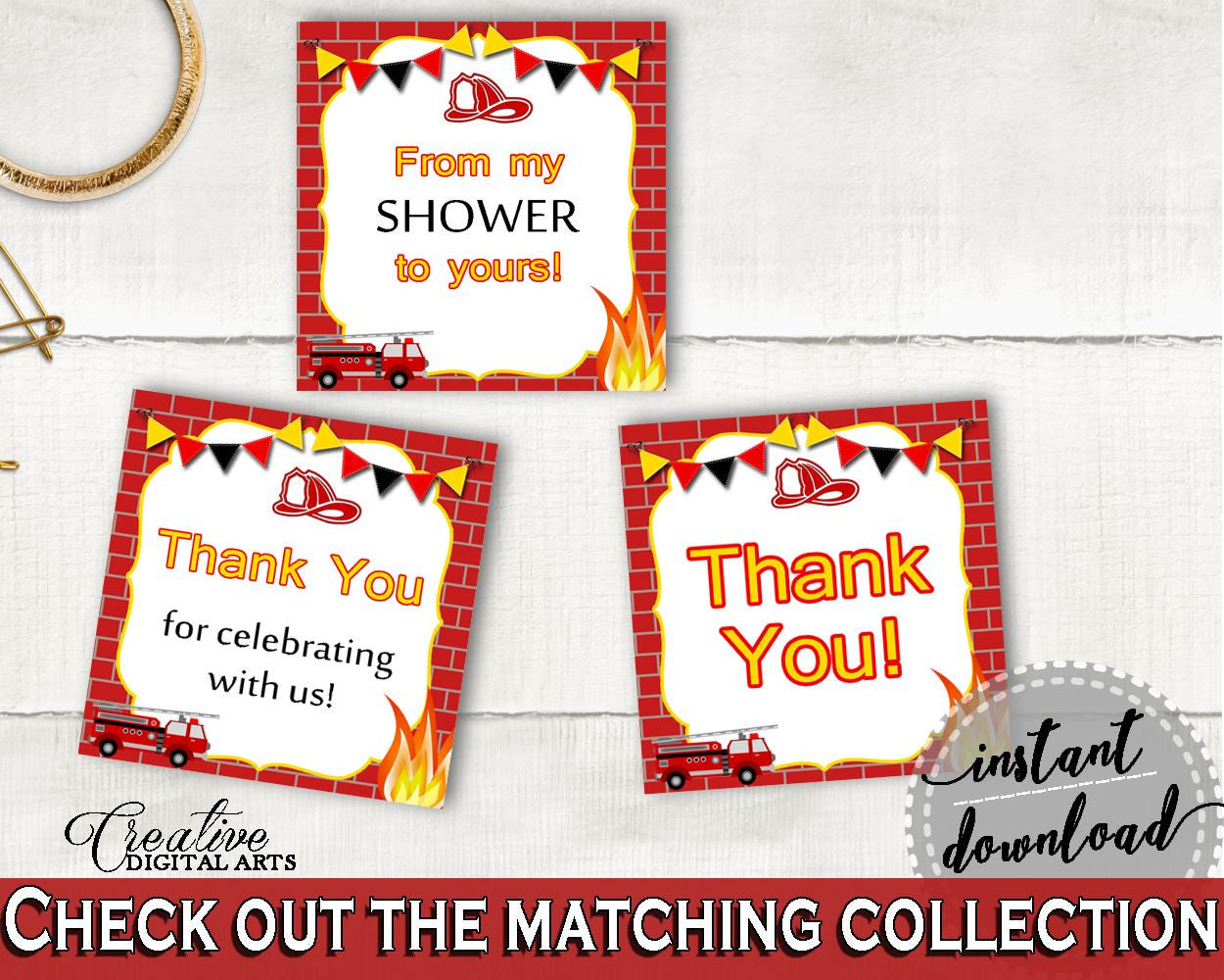 Square Tags Baby Shower Square Tags Fireman Baby Shower Square Tags Red Yellow Baby Shower Fireman Square Tags printable files - LUWX6 - Digital Product